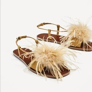 Zara Basic Collection Feather Flat Sandals (38)
